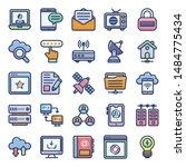networking flat vector icons... | Shutterstock .eps vector #1484775434