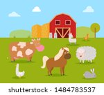 farm animals such as cow  horse ... | Shutterstock .eps vector #1484783537