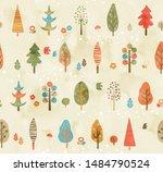scandinavian style autumn tree... | Shutterstock .eps vector #1484790524