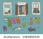 set of hand drawn architectural ... | Shutterstock .eps vector #1484800334