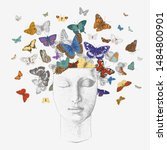butterflies from the head.... | Shutterstock .eps vector #1484800901