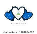 nicaraguan flag in the form of... | Shutterstock .eps vector #1484826737