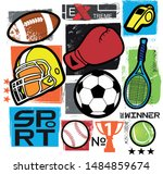 typography print with sport... | Shutterstock .eps vector #1484859674