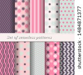 set of trendy seamless floral... | Shutterstock .eps vector #1484871377