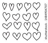 hand drawn heart vector icon ... | Shutterstock .eps vector #1484904707