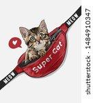 Stock vector little cat in red waist bag illustration 1484910347