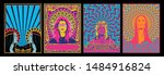 hippie women  psychedelic... | Shutterstock .eps vector #1484916824