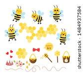 set of bee cartoon character.... | Shutterstock .eps vector #1484937584