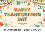 happy thanksgiving day card or... | Shutterstock .eps vector #1484949704