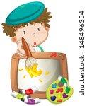 illustration of a little boy... | Shutterstock . vector #148496354