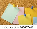 empty post its with pins on...   Shutterstock . vector #148497401
