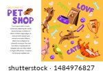 Stock vector vector hand drawn cartoon flat style pet shop banner template with vector cartoon illustration of 1484976827