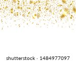 gold realistic confetti and... | Shutterstock .eps vector #1484977097