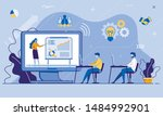 online training conference for... | Shutterstock .eps vector #1484992901