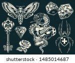 vintage monochrome tattoos... | Shutterstock .eps vector #1485014687