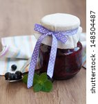 black currants jam on a old... | Shutterstock . vector #148504487