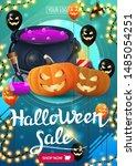 halloween sale  bright green... | Shutterstock .eps vector #1485054251