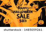 scary halloween sale banner for ... | Shutterstock .eps vector #1485059261