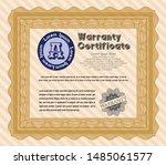 orange formal warranty... | Shutterstock .eps vector #1485061577
