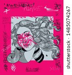 crazy pink calligraphy.  the... | Shutterstock .eps vector #1485074267