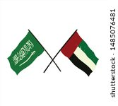 cross flags of saudi arabia and ... | Shutterstock .eps vector #1485076481