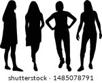 silhouette of a woman. vector... | Shutterstock .eps vector #1485078791