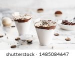 tasty cream mousse dessert with ... | Shutterstock . vector #1485084647