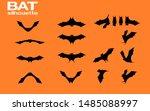 set of silhouette bat on... | Shutterstock .eps vector #1485088997