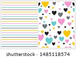 lovely hearts and stripes... | Shutterstock .eps vector #1485118574