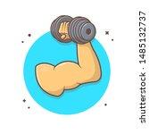hand holding dumbbell vector...   Shutterstock .eps vector #1485132737