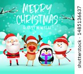 merry christmas and happy new... | Shutterstock .eps vector #1485136637