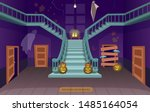 scary house with stairs  ghosts ... | Shutterstock .eps vector #1485164054