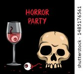 vector creepy artwork with... | Shutterstock .eps vector #1485176561