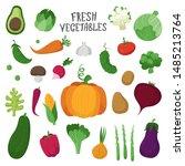 set of vegetables in cartoon... | Shutterstock .eps vector #1485213764