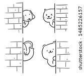 Stock vector vector set of animal hiding behind wall cartoon 1485226157