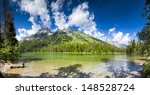 Summer panoramic view of String Lake in Grand Teton National Park, WY