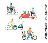 family cycling on different... | Shutterstock .eps vector #1485334934