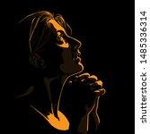 beautiful woman praying. girl...   Shutterstock .eps vector #1485336314