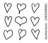 set of nine hand drawn heart.... | Shutterstock .eps vector #1485338081