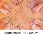 six pairs of woman feet on the... | Shutterstock . vector #148535294