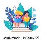 Children Reading Books Flat...