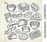 Set Of Various Food In Sketchy...