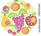fruit pattern round illustration | Shutterstock . vector #148543364