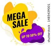 sale banner design. mega sale ... | Shutterstock .eps vector #1485439001