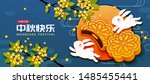 Stock vector mooncake festival with white rabbit and delicious pastry on blue background mid autumn holiday 1485455441