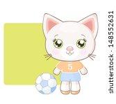 cute cartoon cat footballer | Shutterstock .eps vector #148552631