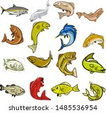 Stock vector set or collection of cartoon character mascot style illustration of marine life like tuna trout 1485536954