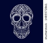 the stylized skull is drawn by... | Shutterstock .eps vector #1485572861