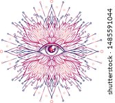 lotus  eye  sacred geometry.... | Shutterstock .eps vector #1485591044
