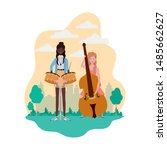 women with musical instruments... | Shutterstock .eps vector #1485662627